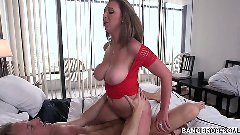 Great amateur bouncing breasts cowgirl and titty fuck wearing a red shirt Brooke Wylde