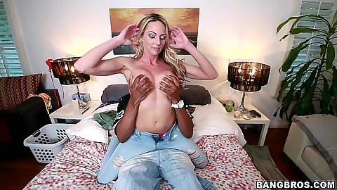 Sindy Lange interracial stripping and large dick blowjob