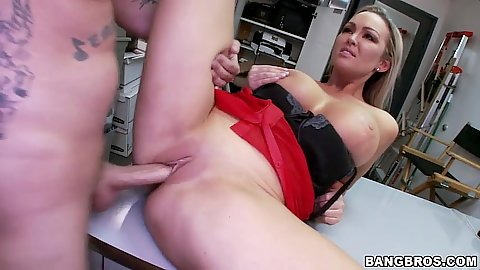 Half dressed audition bang with busty Abbey Brooks