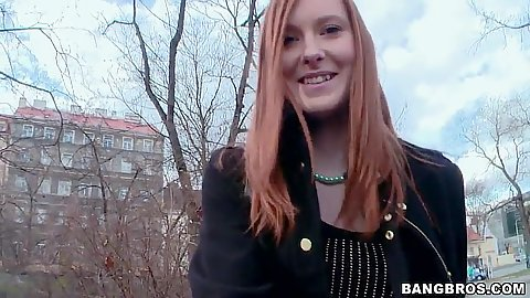 Redhead euro chick in public park Linda Sweet