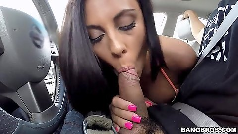 Car blowjob in pov with all clothed Gianna Nicole