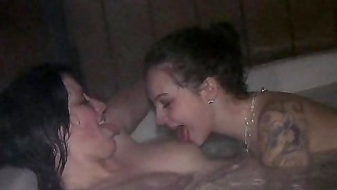 Hot and wet jacuzzi college sluts then suck off happy man