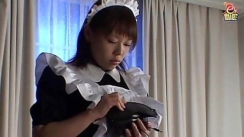 Sexy asian maid and a dildo to suck in pov