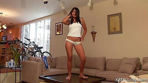 Coffee table solo panties dance with asian Kat Young