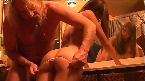 Shy Love pulling down her panties and reverse cowgirl sex with anal