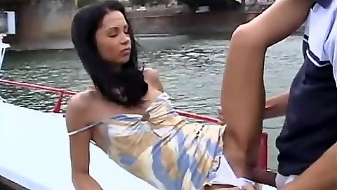 Angelina Crow gets fucked on the boat outdoors in public in europe