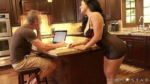 Kiara Mia sexy busty milf approaches man in kitchen