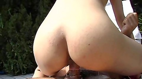 Cute little asian rides penis and in the air fuck by the pool outdoors