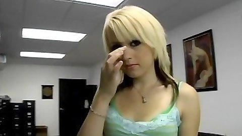 Blonde office slut gets naked Lexi Belle