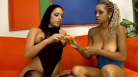 Two black girls go down on each other taking turns half dressed Tierra Quinn and Ice La Fox