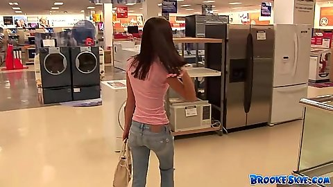Going for a walk with lovely teen Brooke Skye in the store in public