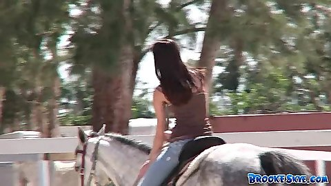 Outdoor riding some horses with fully clothed 18 year old girl goes topless Brooke Skye