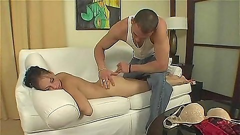 Sexy skinny Genie Onyx goes for a massage
