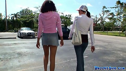 Outdoors in public with fully clothed black and Brooke Skye