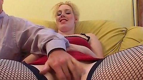 Fishnet fingering with enticing euro girl Kimberley