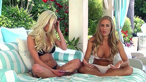 Interview with Nicole Aniston and her friend in bras and panties
