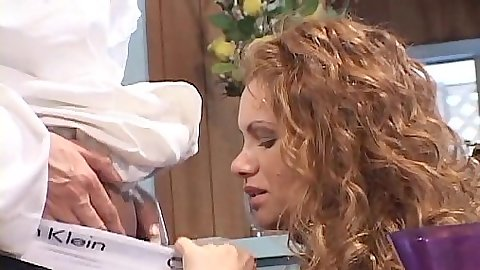 Latina redhead blowjob during diner