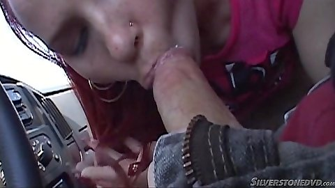 Car blowjob with picked up college skank Candi Summers