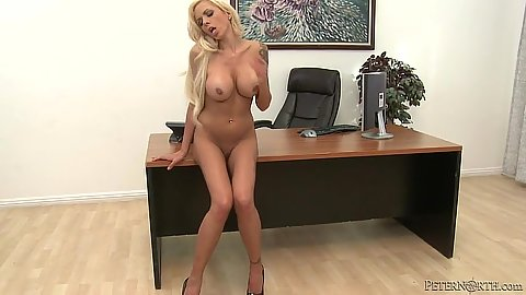 Skinny sexy blonde Nina Elle naked in the office deep throat