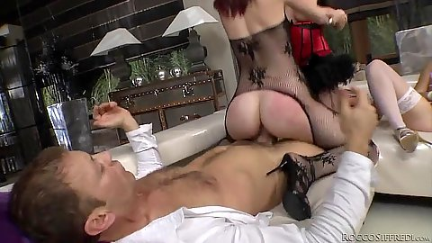 Barbra Sweet and Emylia Argan  with Sweet Cat in lingerie jumping on rocco dick