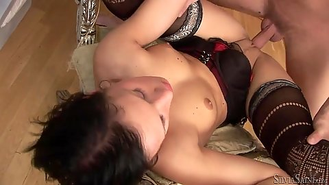 Drilling this small tits brunette in stockings and lowering dick in her mouth