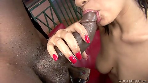 Blowjob and oil cowgirl fuck with ebony Aliana Love