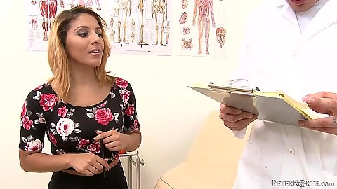 Lovely little Liv Aguilera visits the doctor to suck him off