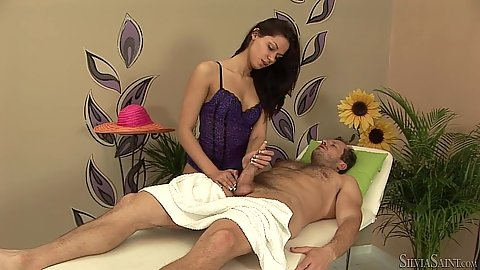 Handjob and nice massage table fuck with lovely George B