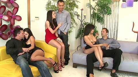 Missy Maze and Kortney Kane with Annie Cruz swingers orgy fuck