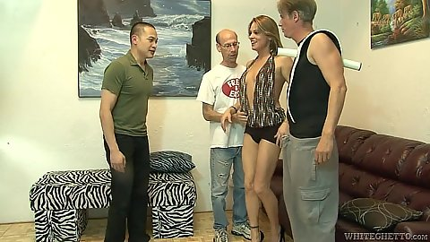 Mifl Amanda Blow is so sex deprived that she goes for a gang bang
