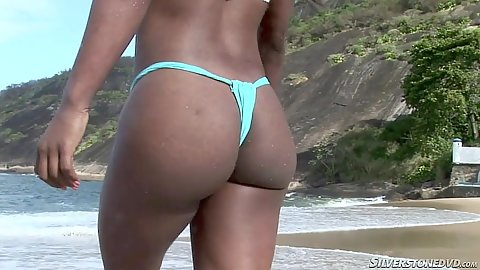 Nice latina ass in bikini on the beach in Rio with Crissey