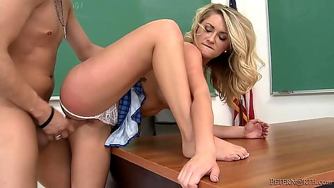 Standing fuck with pulled aside panties and bit rough with Chloe Addison in class