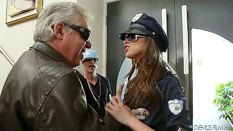 Police uniform Riley Reid in some fully clothed action