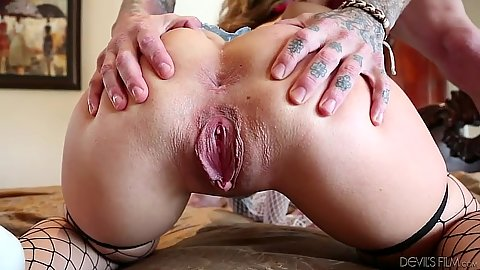 Ass spreading and pussy is all gaped after some good fucking Madelyn Monroe