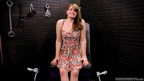 Young teen Ariel Stonem comes into the machine fuck room for fetish