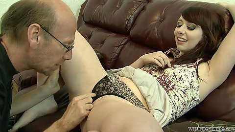 Young girl and old grandpa engaging in fingering Dakota Charms