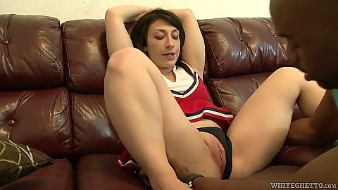 Pulled aside panties cheerleader in black cock white slut fuck Molly Manhattan