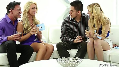Blonde fully clothed swingers club with hot wives