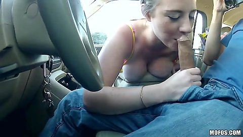 Car blowjob with medium breasts teen Sam Summers