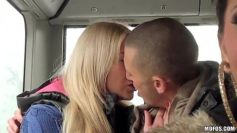 Lindsey Olsen starts to make out on a public bus then fucked