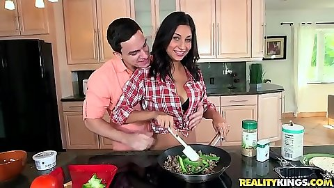 Seductive teen Jade Jantzen is a latina in kitchen
