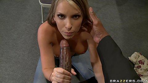 Hot brunette slut sucks off some dude