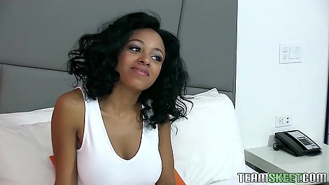 Beautiful ebony teen Anya Ivy having her interview solo