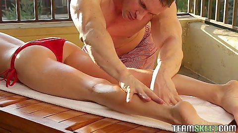 Saucy oil massage with petite blond girl Chloe Foster