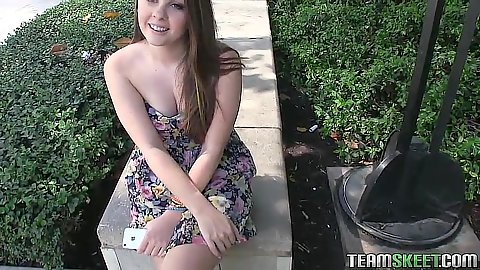 Outdoor teen Cali Hayes got offered to fuck for extra cash