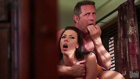 Standing fuck and reverse cowgirl banging a nice looking milf Rachel Starr