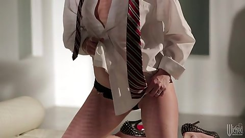Teasing and stripping milf in mens dress shirt Beverly Lynne