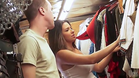 Lovely fully clothed Danica Dillon is choosing a new outfit