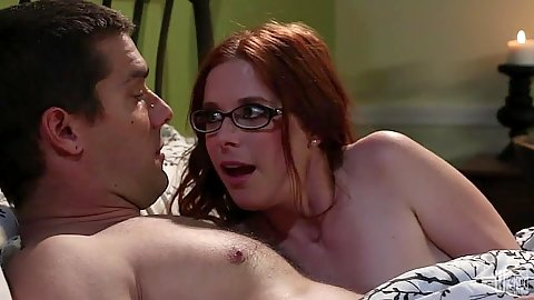 Penny Pax redhead sucks man in glasses