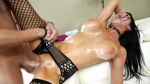 Busty oiled up Romi Rain in lingerie hardcore